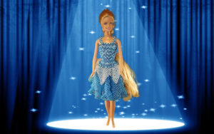 Barbie som stjerne i perlekjole